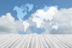 Blue sky cloud with Wood terrace, Map. Nature cloudscape with blue sky and white cloud with Wood terrace, Map Royalty Free Stock Photos