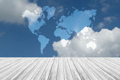 Blue sky cloud with Wood terrace, Map. Nature cloudscape with blue sky and white cloud with Wood terrace, Map Stock Photos
