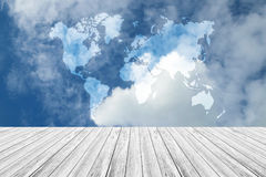 Blue sky cloud with Wood terrace, Map. Nature cloudscape with blue sky and white cloud with Wood terrace, Map Stock Photo