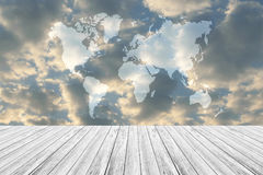 Blue sky cloud with Wood terrace, Map. Nature cloudscape with blue sky and white cloud with Wood terrace, Map Royalty Free Stock Images