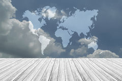 Blue sky cloud with Wood terrace, Map. Nature cloudscape with blue sky and white cloud with Wood terrace, Map Royalty Free Stock Photo