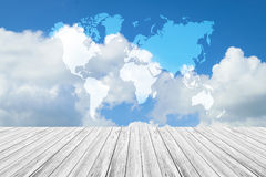 Blue sky cloud with Wood terrace, Map. Nature cloudscape with blue sky and white cloud with Wood terrace, Map Royalty Free Stock Image