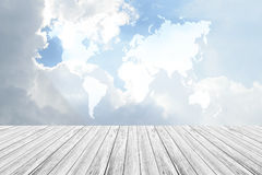 Blue sky cloud with Wood terrace, Map Stock Photography
