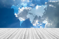 Blue sky cloud with Wood terrace, Map Royalty Free Stock Image