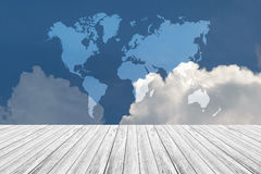 Blue sky cloud with Wood terrace, Map Stock Image