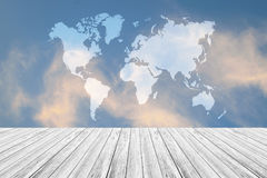 Blue sky cloud with Wood terrace, Map Royalty Free Stock Photos