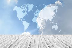 Blue sky cloud with Wood terrace, Map Royalty Free Stock Photo