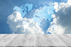 Blue sky cloud with Wood terrace, Map Royalty Free Stock Photography