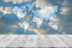 Blue sky cloud with Wood terrace, Map Royalty Free Stock Images