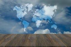 Blue sky cloud with Wood terrace, Map Stock Photos