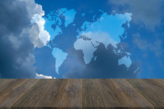 Blue sky cloud with Wood terrace, Map Stock Photo