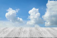 Blue sky cloud with Wood terrace. Nature cloudscape with blue sky and white cloud with Wood terrace Royalty Free Stock Photos