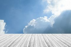 Blue sky cloud with Wood terrace. Nature cloudscape with blue sky and white cloud with Wood terrace Stock Photography