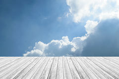 Blue sky cloud with Wood terrace Royalty Free Stock Image