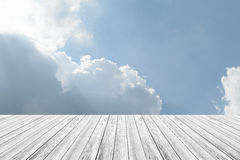 Blue sky cloud with Wood terrace Royalty Free Stock Photos
