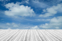 Blue sky cloud with Wood terrace Royalty Free Stock Photography