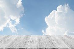 Blue sky cloud with Wood terrace Stock Photos