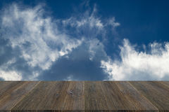 Blue sky cloud with Wood terrace Stock Image