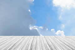Blue sky cloud with Wood terrace Stock Photo