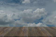 Blue sky cloud with Wood terrace Royalty Free Stock Photo