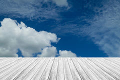 Blue sky cloud with Wood terrace Stock Photography