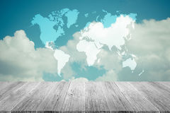 Blue sky cloud with Wood terrace , process in vintage style, Map Stock Photos