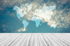 Blue sky cloud with Wood terrace , process in vintage style, Map. Nature cloudscape with blue sky and white cloud with Wood terrace , process in vintage style Stock Photo