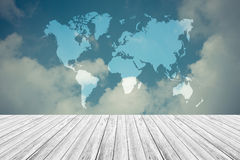 Blue sky cloud with Wood terrace , process in vintage style, Map. Nature cloudscape with blue sky and white cloud with Wood terrace , process in vintage style Stock Image