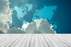 Blue sky cloud with Wood terrace , process in vintage style, Map Royalty Free Stock Image