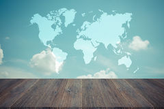 Blue sky cloud with Wood terrace , process in vintage style, Map Stock Image