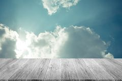 Blue sky cloud with Wood terrace , process in vintage style Royalty Free Stock Photography