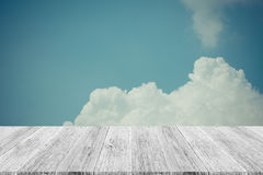 Blue sky cloud with Wood terrace , process in vintage style Royalty Free Stock Image