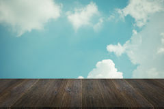 Blue sky cloud with Wood terrace , process in vintage style Stock Photos
