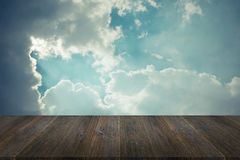 Blue sky cloud with Wood terrace , process in vintage style Royalty Free Stock Photo