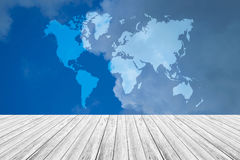 Blue sky cloud with Wood terrace and world map Royalty Free Stock Photos