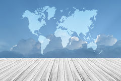 Blue sky cloud with Wood terrace and world map. Nature cloudscape with blue sky and white cloud with Wood terrace and world map Stock Photo