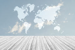 Blue sky cloud with Wood terrace and world map. Nature cloudscape with blue sky and white cloud with Wood terrace and world map Stock Photography