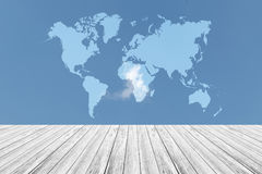 Blue sky cloud with Wood terrace and world map. Nature cloudscape with blue sky and white cloud with Wood terrace and world map Stock Images