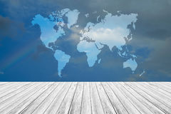 Blue sky cloud with Wood terrace and world map Stock Image