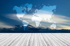Blue sky cloud with Wood terrace and world map Stock Photo