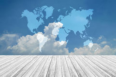 Blue sky cloud with Wood terrace and world map Stock Images