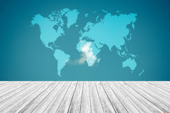 Blue sky cloud with Wood terrace and world map , process in vint Stock Image