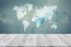 Blue sky cloud with Wood terrace and world map , process in vint Stock Photos