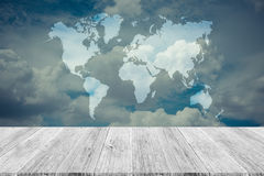 Blue sky cloud with Wood terrace and world map , process in vint Stock Photography