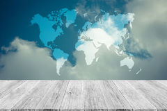 Blue sky cloud with Wood terrace and world map , process in vint Stock Images
