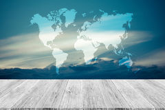 Blue sky cloud with Wood terrace and world map , process in vint Stock Photo