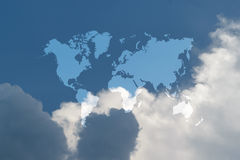 Blue sky cloud with world map Royalty Free Stock Images