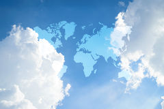 Blue sky cloud with world map Stock Photo