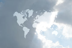 Blue sky cloud with world map Stock Images