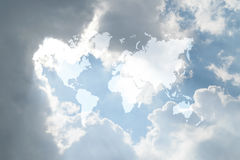 Blue sky cloud with world map Stock Image